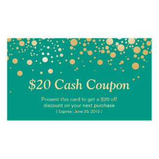 Discount Coupon Card Emerald Green Gold Dots Pack Of Standard Business Cards
