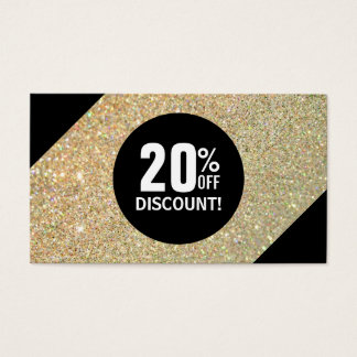 Discount Coupon Card Gold Glitter Black Fashion