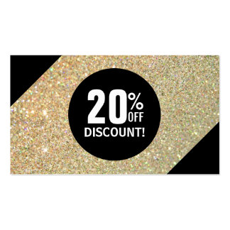Discount Coupon Card Gold Glitter Black Fashion Pack Of Standard Business Cards