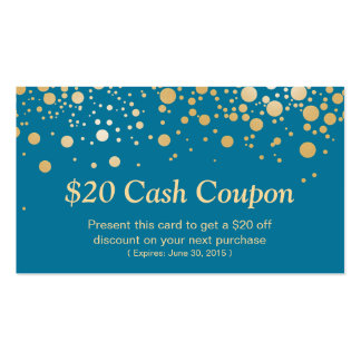 Discount Coupon Card Stylish Gold Royal Blue Dots Pack Of Standard Business Cards