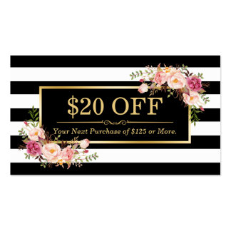 Discount Coupon Classy Gold Floral Beauty Salon Pack Of Standard Business Cards