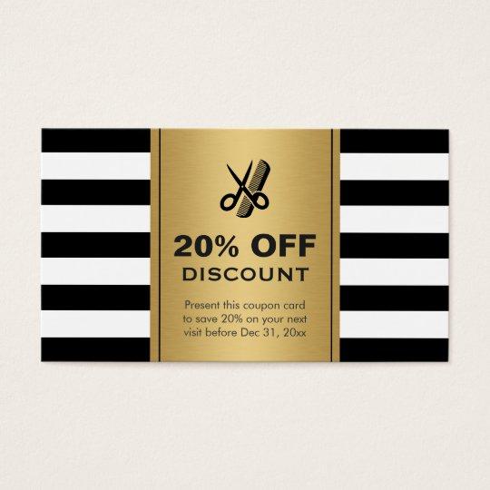 Discount Coupon Hair Salon Gold Black Scissors Business
