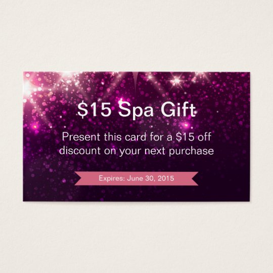 Discount Coupon Loyalty Card Pink Glitter Sparkles