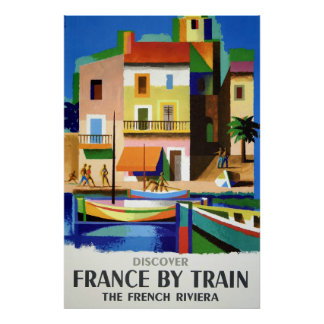 Discover France by Train Vintage Poster