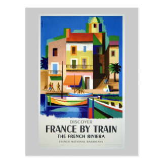 Discover France by Train Vintage Poster Postcard
