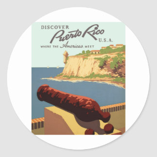 Discover Puerto Rico Poster Classic Round Sticker