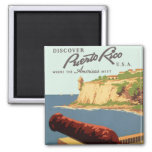 Discover Puerto Rico Poster Square Magnet