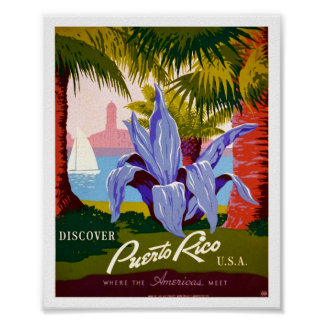 Discover Puerto Rico Vintage Poster