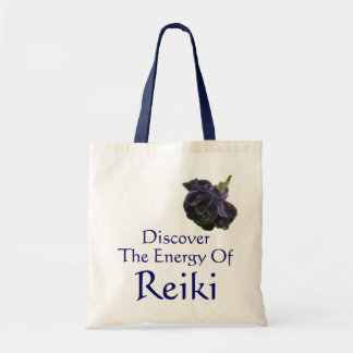 Discover The Energy Of Reiki Purple Rose Budget Tote Bag