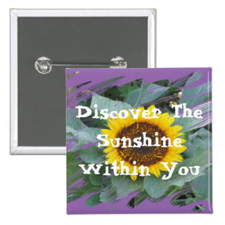 Discover The Sunshine Within You - Square sunflowe 15 Cm Square Badge