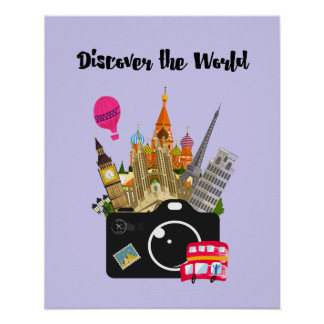 Discover the World European Landmarks with Camera Poster