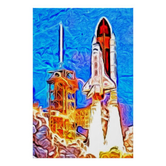 Discovery Space Shuttle Lift Off Poster
