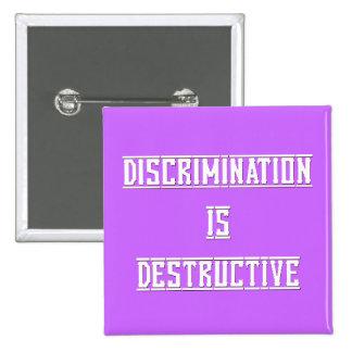 Discrimination Is Destructive Lavender Button