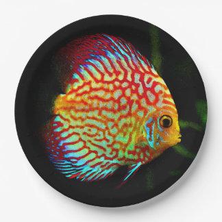 Discus aquarium fish dinner paper plate