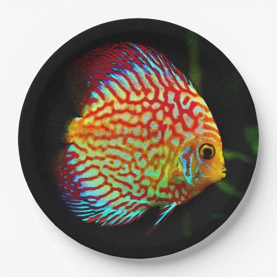 Discus aquarium fish dinner paper plate 9 inch
