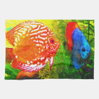 Discus aquarium fish  luxury kitchen/hand towel