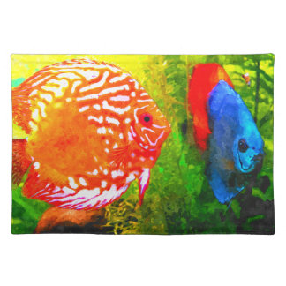 Discus aquarium fish  luxury place mat