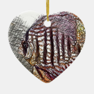 Discus Fish Sketch Ceramic Heart Decoration