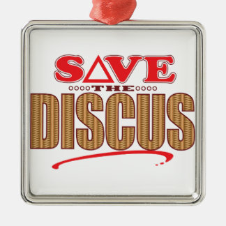 Discus Save Silver-Colored Square Decoration