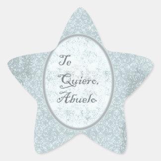 diseño elegante felicitación abuelo calcomania forma de estrella personalizadas