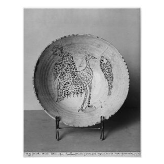 Dish decorated with birds poster