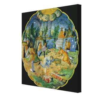 Dish depicting the gathering of manna canvas print