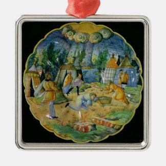 Dish depicting the gathering of manna christmas ornament