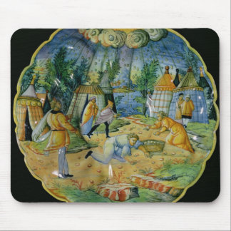 Dish depicting the gathering of manna mouse mat