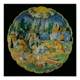 Dish depicting the gathering of manna poster