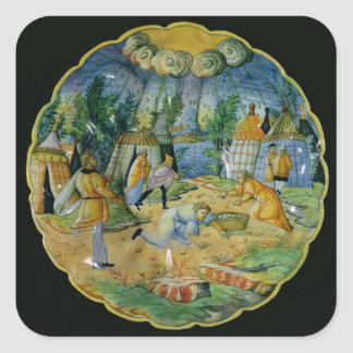 Dish depicting the gathering of manna square sticker