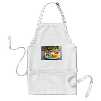 Dish from tomatoes, bell-pepper, mozzarella cheese standard apron