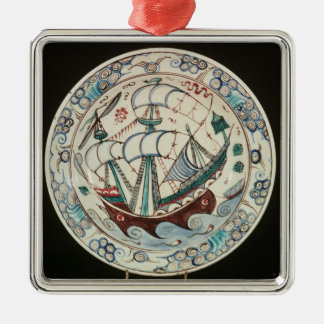 Dish painted with a ship christmas ornament