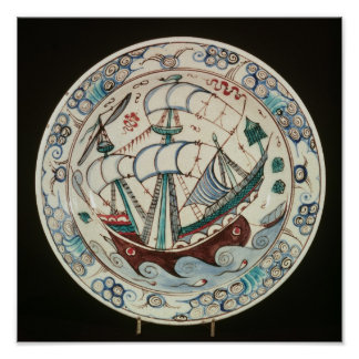Dish painted with a ship poster