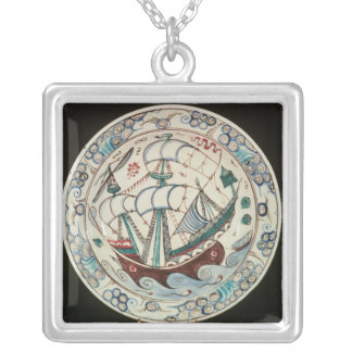Dish painted with a ship silver plated necklace