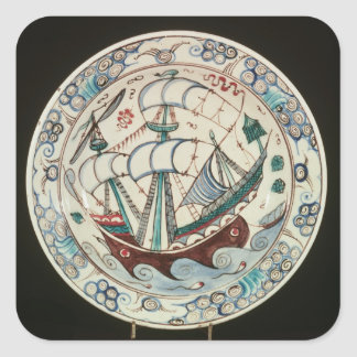 Dish painted with a ship square sticker