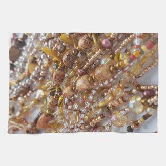 Dish Towel- Natural Earthtones Beads Print Tea Towel