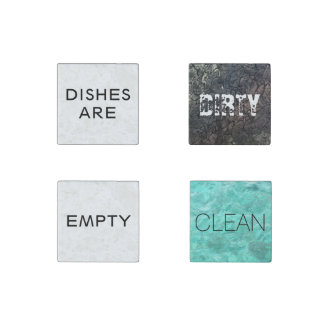 Dishes are (empty, dirty, clean) Dishwasher Stone Magnet