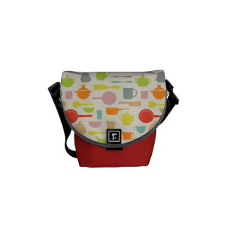 Dishes Pattern Messenger Bags