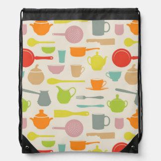 Dishes Pattern Drawstring Bag