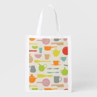 Dishes Pattern Reusable Grocery Bag