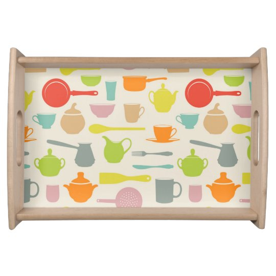 Dishes Pattern Serving Tray