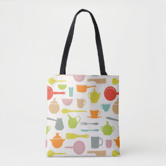 Dishes Pattern Tote Bag