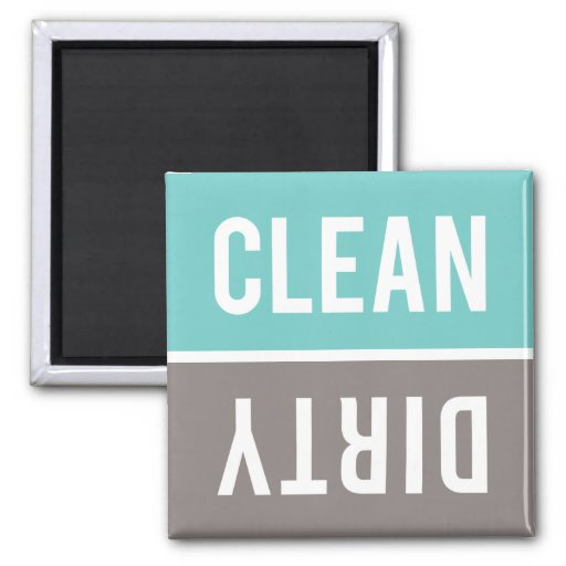 Dishwasher Magnet CLEAN | DIRTY - Turquoise & Gray