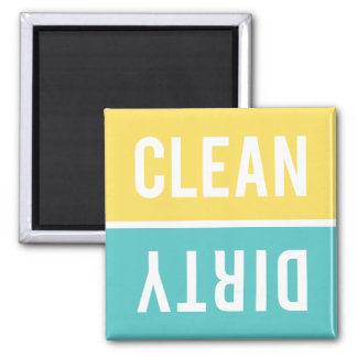 Dishwasher Magnet CLEAN | DIRTY - Yellow & Aqua