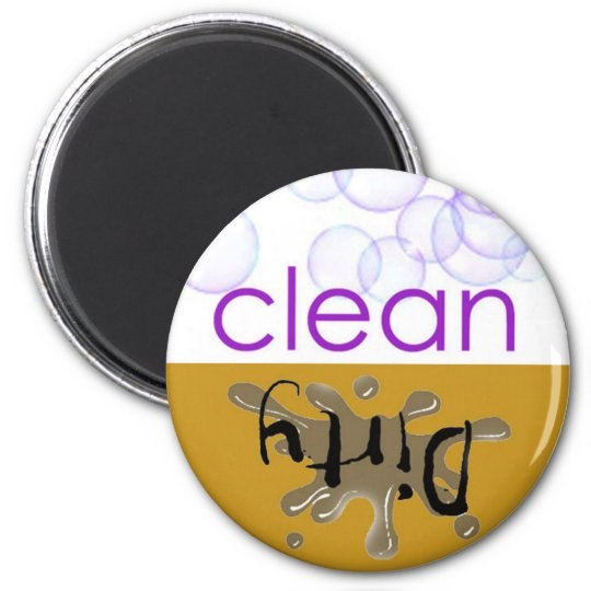 Dishwashing Machine - Is it clean or dirty? 6 Cm Round Magnet