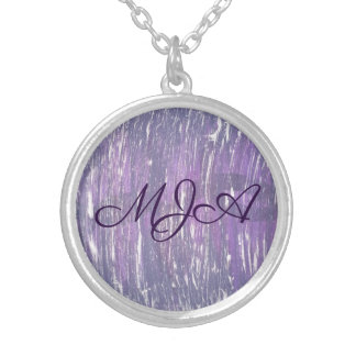 Disillusioned Bling | Monogram Purple Silver | Silver Plated Necklace