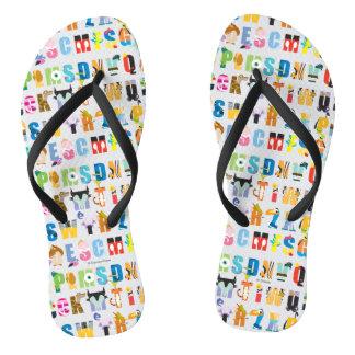 Disney Alphabet Mania Pattern Flip Flops