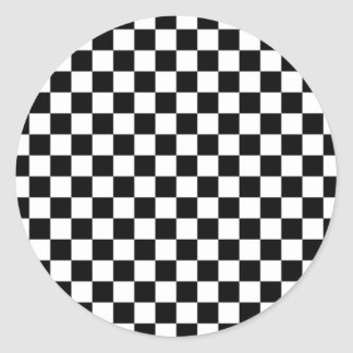 Displaced Checker Classic Round Sticker