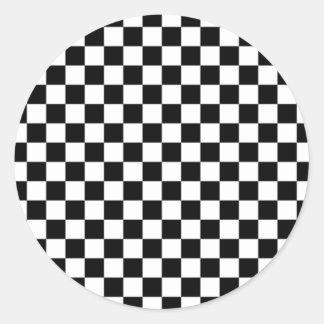 Displaced Checker Round Sticker