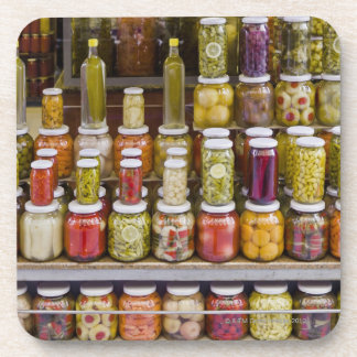 Display of pickled fruits and vegetables. coaster